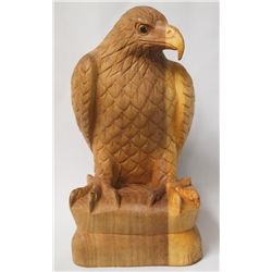 Indonesian Hand Carved Hibiscus Wood Eagle Statue