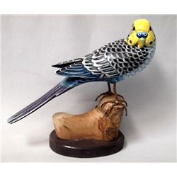 Carved Painted Wood Budgie Parrot