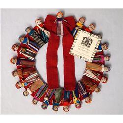Guatemalan Wreath of Woven Folk Art Dolls