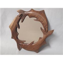 Hand Carved Wood Trout Framed Mirror