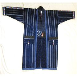 Guatelmalan Long Man's Indigo Blue Robe Coat