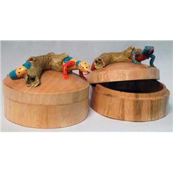 Mango Wood Keepsake Lidded Boxes Clay Lizards Tops