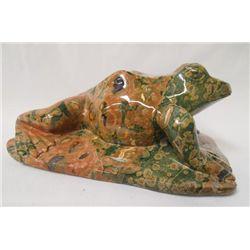 Carved Spherulitic Rhyolite Rainforest Jasper Frog