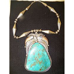 Signed JB  Handmade  Heavy Sterling Silver Large Turquoise Pendant Necklace