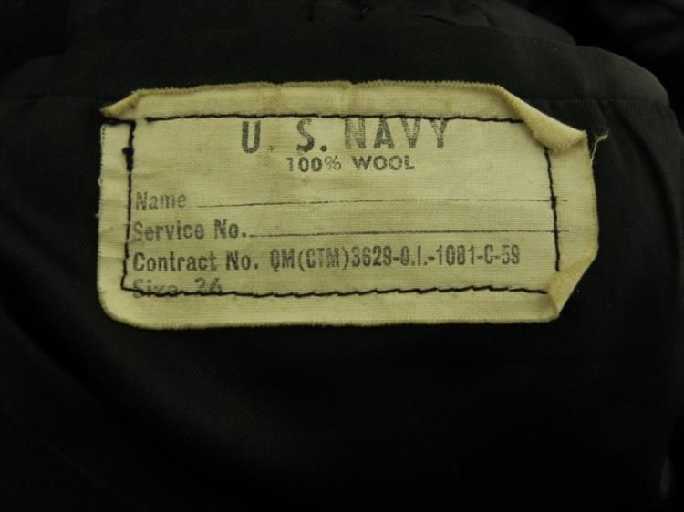U S  NAVY ALL WOOL PEA COAT W/ANCHOR BUTTONS-SIZE 26