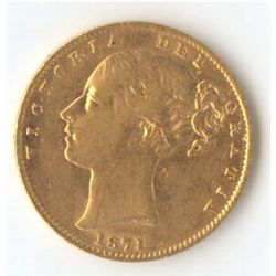 1871 S Shield Sovereign