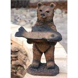 Bear With Fish Bird Feeder