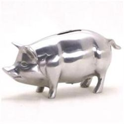 Polished Aluminum Piggy Bank