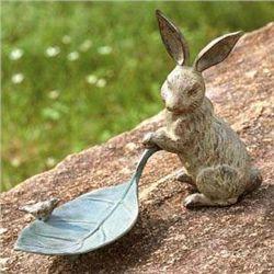 Rabbit With Leaf Bird Feeder
