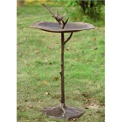 Bird On Branch Sundial Birdbath