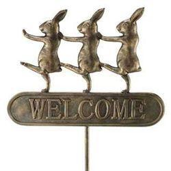 Rabbit Parade Welcome Garden Stake