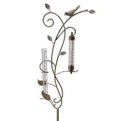 Bird Rain Gauge & Thermometer Garden Stake