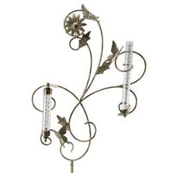 Butterfly Rain Gauge & Thermometer Garden Stake