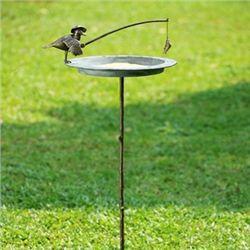 Fisherman Bird & Catch Sundial / Birdbath