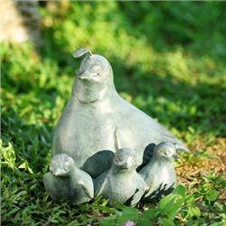 Quail & Babies Garden Sculpture