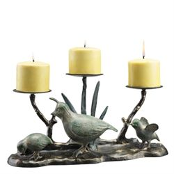 Quail Family Pillar Candle Holder
