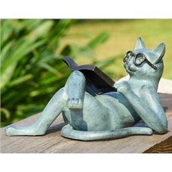 Reading Cat Garden Sculpture