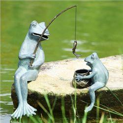 Fishing Frogs Garden Sculptures