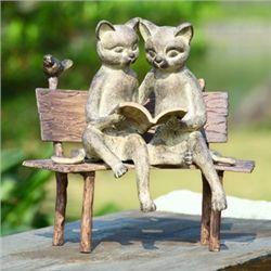 Reading Cats On Garden Sculpture
