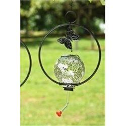 Green Glass Hummingbird Feeder