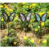 Image 1 : 3 Mosaic Glass Butterfly Stakes