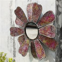Amber Mosaic Glass Flower Mirror