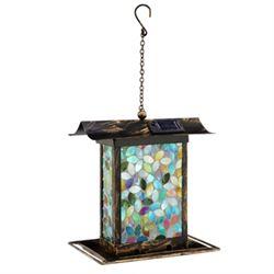Blue Mosaic Glass Birdfeeder