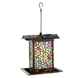 Amber Mosaic Glass Birdfeeder