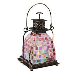 Pink Mosaic Glass Lantern / Candle Holder