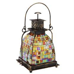 Amber Mosaic Glass Lantern / Candle Holder