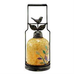 Bird Mosaic Glass Lantern / Candle Holder
