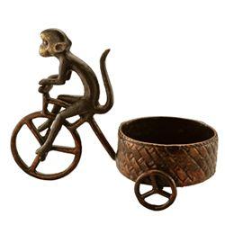 Bicycle Monkey Pillar Candle Holder
