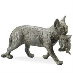 Cat With Kitten Cast Iron Garden Sculpture