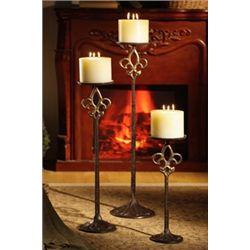 Set Of Fluer De Lis Floor Candle Sticks