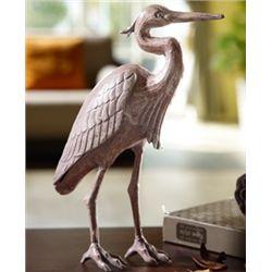 Cast Iron Heron Sculpture