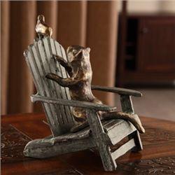 Cat & Bird On Beach Chair Sculpture