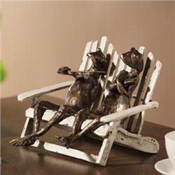 Frog Pair On Beach Chair Sculpture