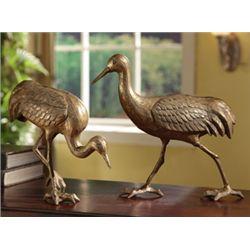 Cast Iron Crane Sculptures - Pair