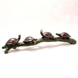 Turtles On Branch Bronze Sculpture