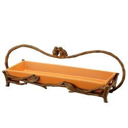 Love Bird Handled Tray In Orange
