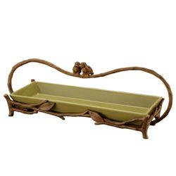 Love Bird Handled Tray In Green
