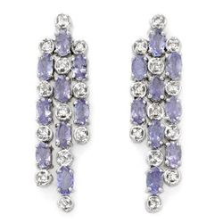 Genuine 4.33 ctw Tanzanite & Diamond Earrings 14K Gold