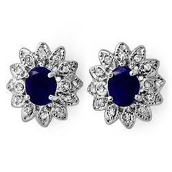 Genuine 3.0ct Sapphire & Diamond Stud Earrings 14K Gold