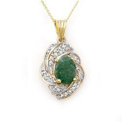 Genuine 3.17 ctw Emerald & Diamond Pendant Yellow Gold