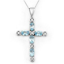 Genuine 3.15 ctw Blue Topaz & Diamond Necklace 10K Gold