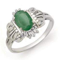 Genuine 0.81 ctw Emerald & Diamond Ring 10K White Gold