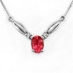 Genuine 1.30ctw Pink Tourmaline & Diamond Necklace Gold