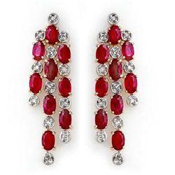 Genuine 4.03 ctw Ruby & Diamond Earrings Yellow Gold