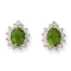 Genuine 3.75ct Green Tourmaline & Diamond Earrings Gold