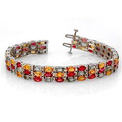 Genuine 32.26 ctw Multi-Sapphire & Diamond Bracelet Gold